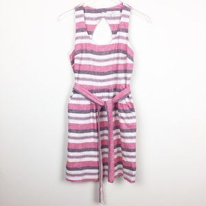 LOFT   Linen Blend Striped Dress